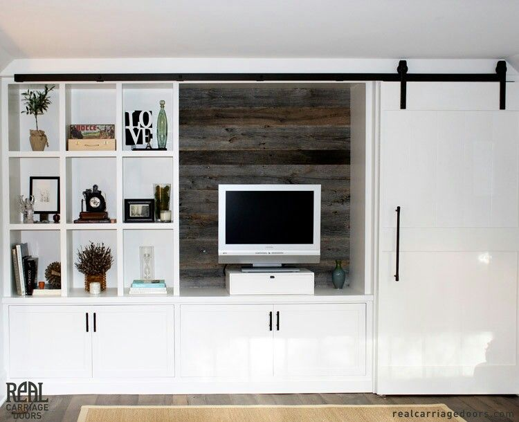 Love this white shaker media cabinet with reclaimed wood & sliding ...