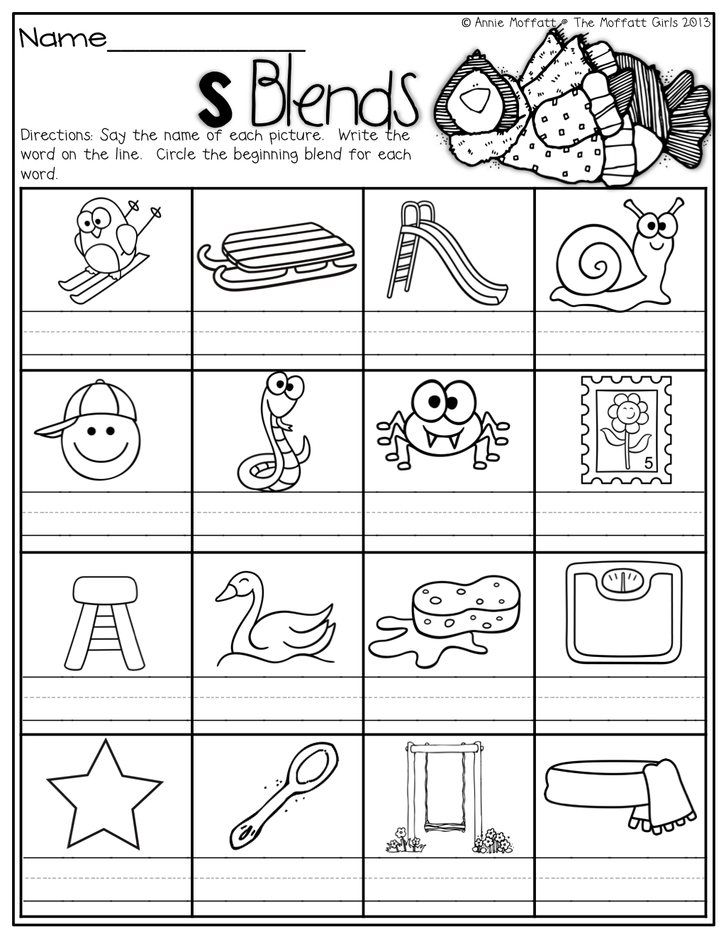 S blend coloring pages - S Blends