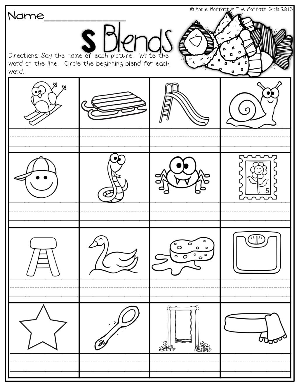 small resolution of The Moffatt Girls: Winter Math and Literacy Packet (First Grade)   Blends  worksheets