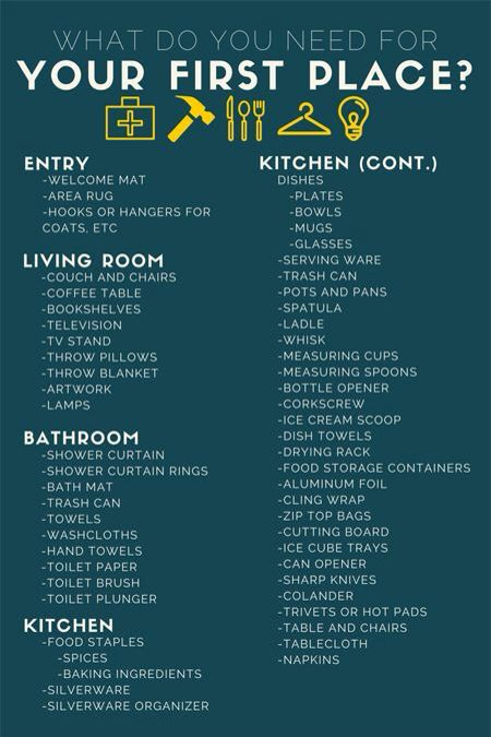 we wouldn\u0027t need everything on here, but I want to get a general - new apartment checklist
