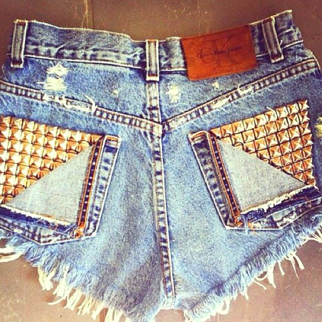 Studded jean shorts-obsessed