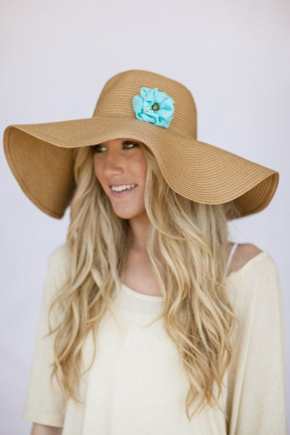 e062b9a6225c18 Oversized Floppy Sunhat Natural Sun Hat with Mint....would love to switch  out the flower depending on bathing suit! :)