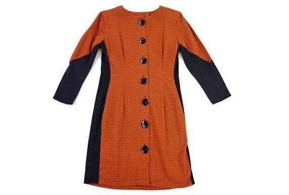SALE Vintage 1990s Orange Dress Black Trim Short Medium