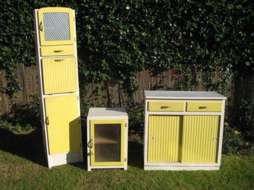 1940s 1950s Vintage Retro Kitchen Cabinet Pantry Larder 3 Piece Set