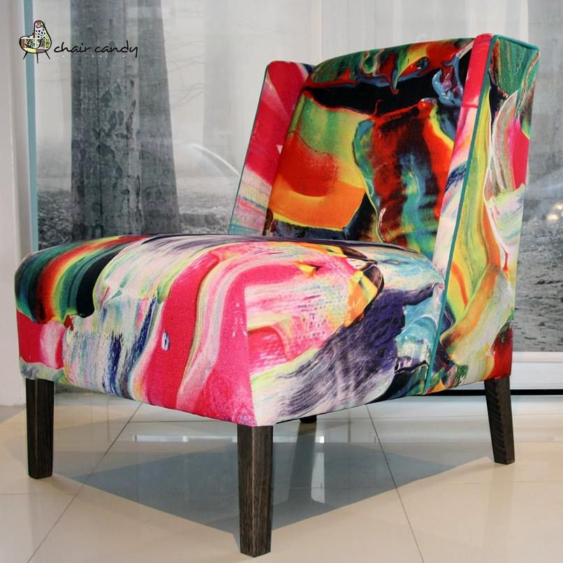 Our latest ‪#‎designoftheweek‬: an all over abstract by Benjamin Fesselet on our Island chair, piped in teal. We think it's hot, and we just know its new owner is going to be thrilled. This is going into a young lady's bedroom. Wow!!