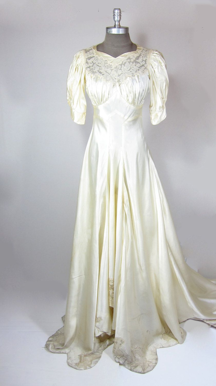Ecru wedding dress  REDUCED us Ecru Satin Wedding Dress with Lace by shopbadlands