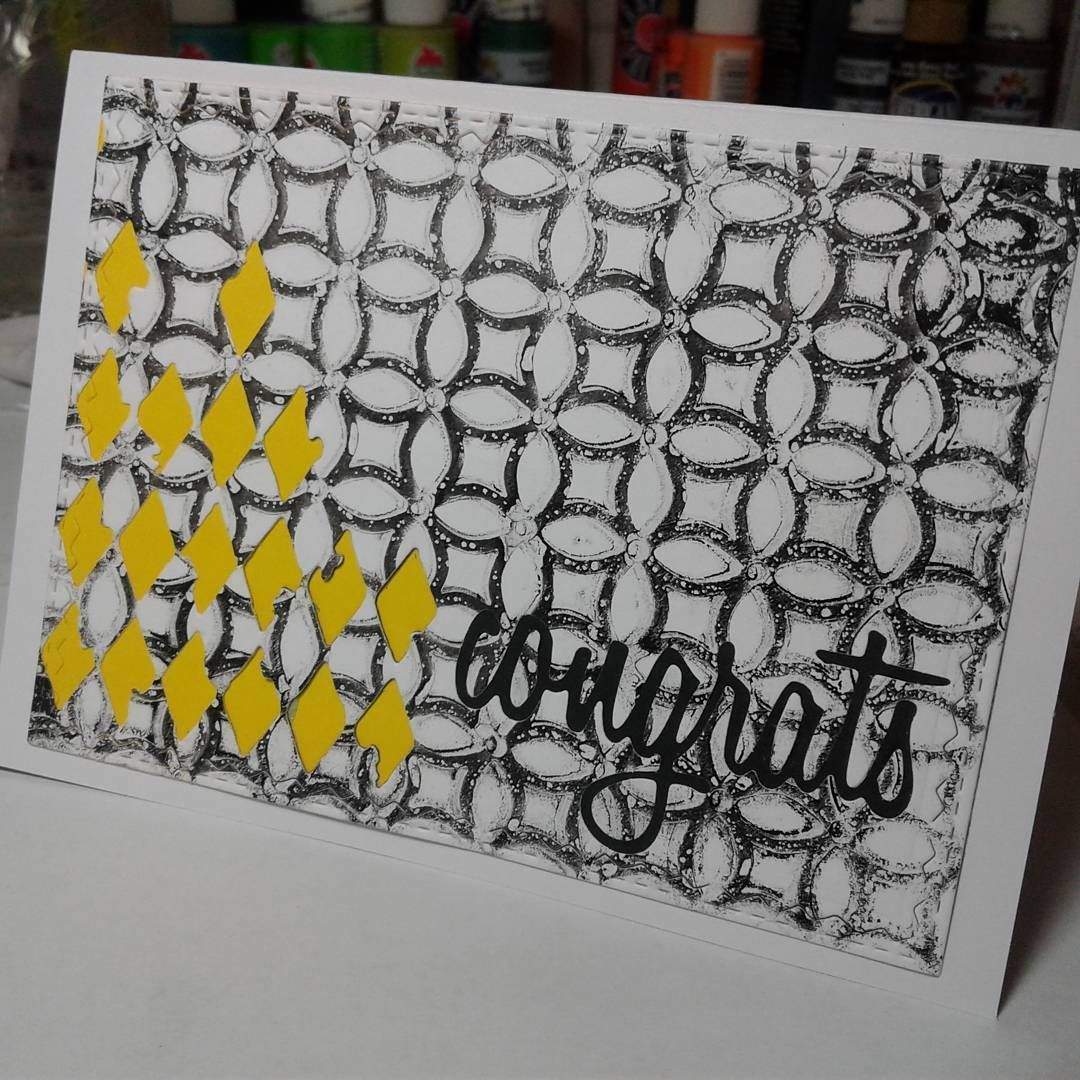 Congratulations card. Gelli printed background and inset sentiment. #papergeometryco