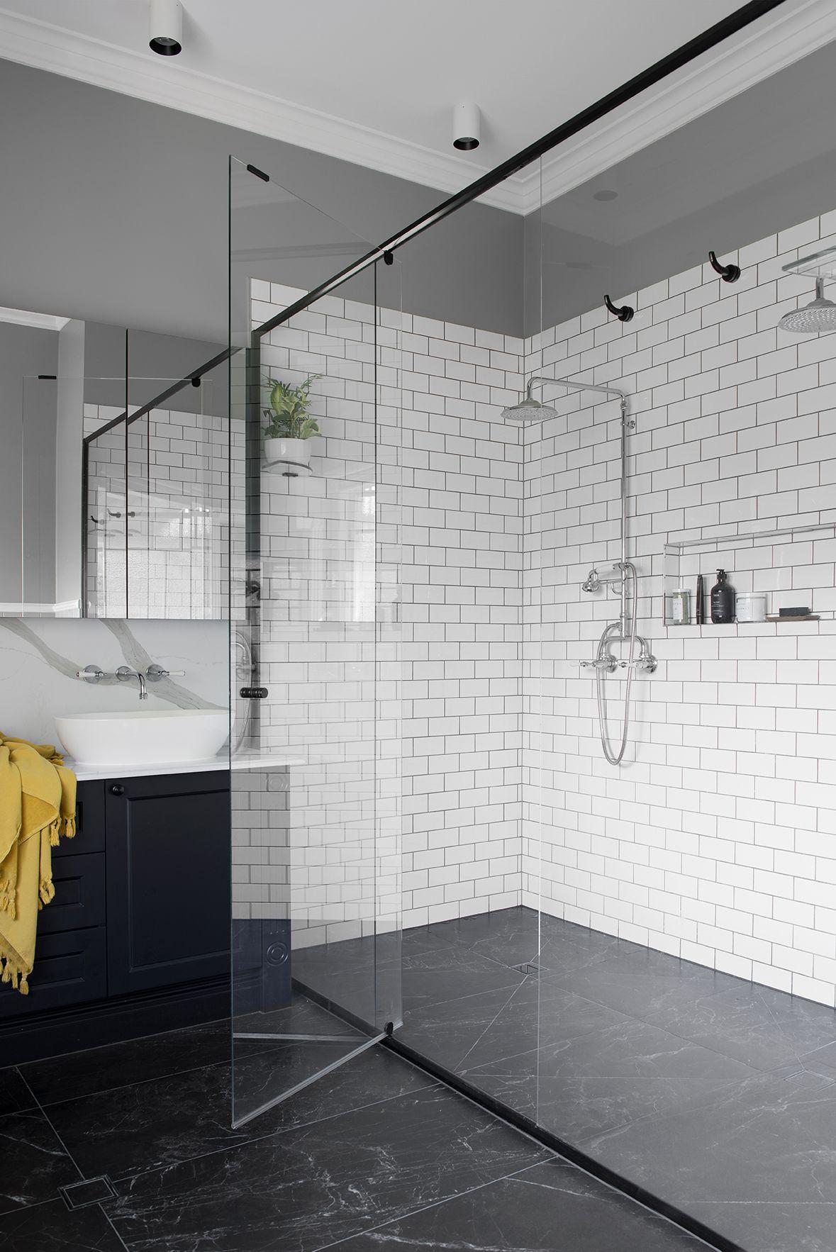 Queenslander bathroom. Subway tiles. Shaker cabinetry.  Bathroom