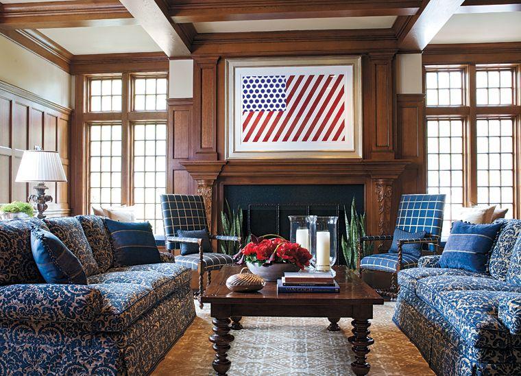 american flag inside the home interior design by kotzen interiors built by fallon custom