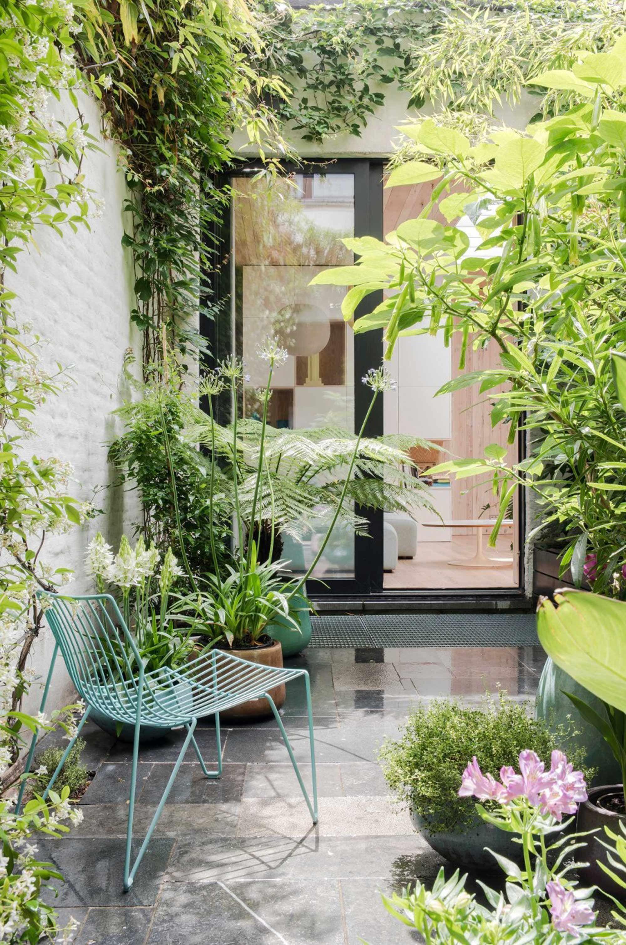 kleine tuin binnenplaats klimop begroeiing planten Garden