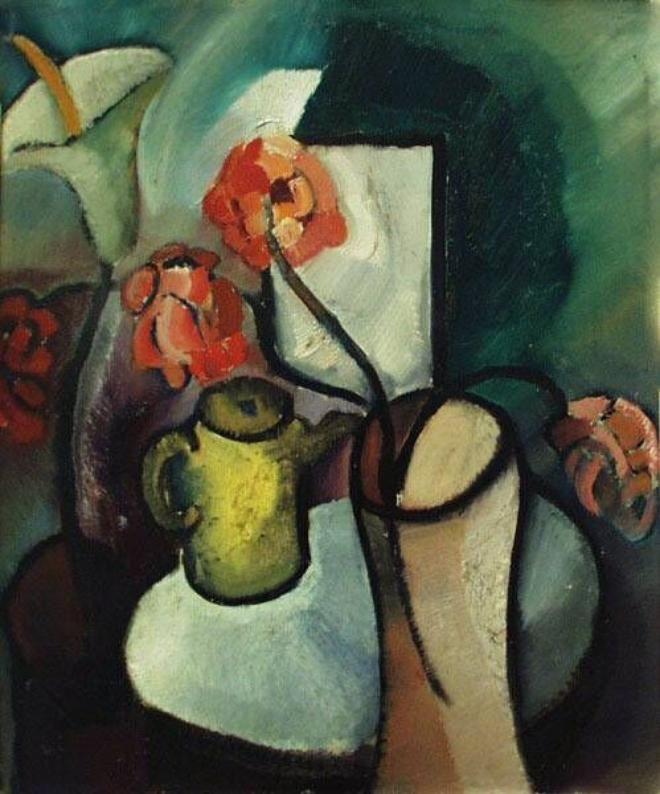1917 stilleven met kan en bloemen Frans Hals museum