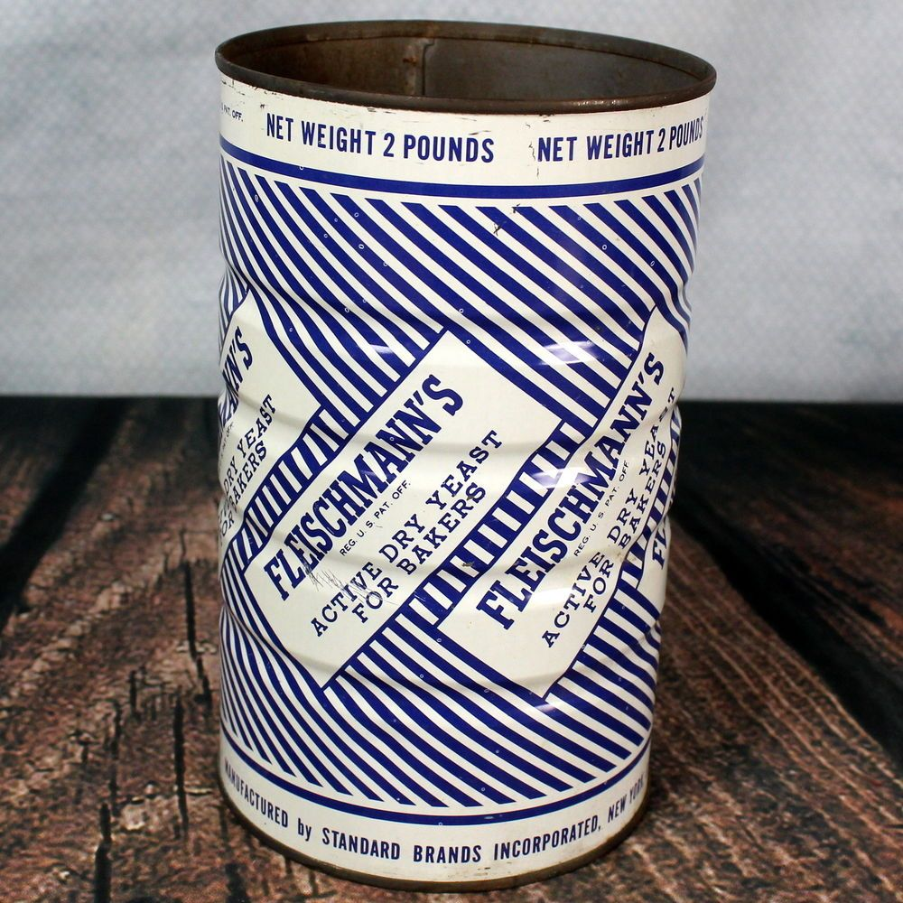 Fleischmann's Dry Yeast For Bakers Vintage Tin Can 2# Size #Fishers