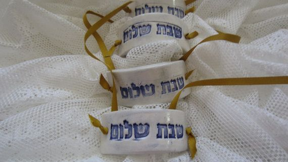 Four Ceramic Napkin Rings for Your Sabbath by JewishHeirlooms