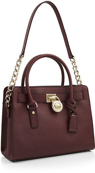 efca03921ca Michael By Michael Kors Hamilton Satchel in Brown (gold) | Lyst ...