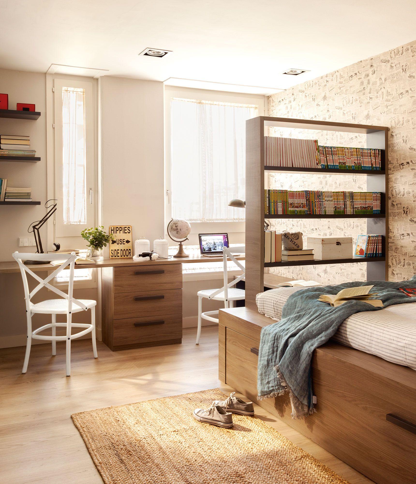Dormitorio juvenil con cama con y escritorio doble - Ideas decoracion habitacion juvenil ...