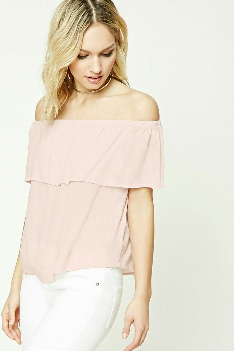 4763c3eb11b3d Forever 21 Contemporary Flounce Top Off Shoulder Top Light Pink