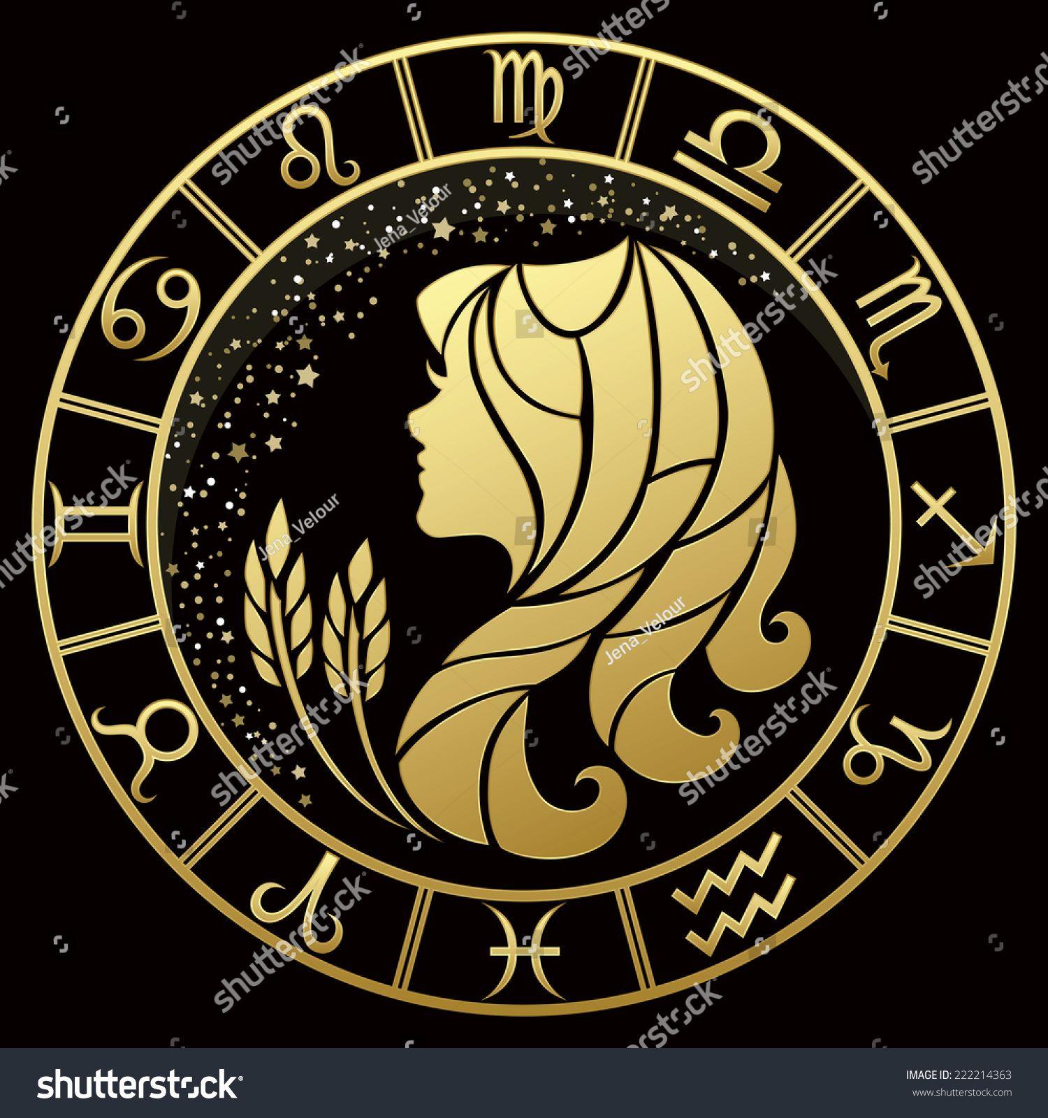 Golden Virgo Zodiac Sign Vector Illustration Virgo Zodiac Zodiac Zodiac Signs