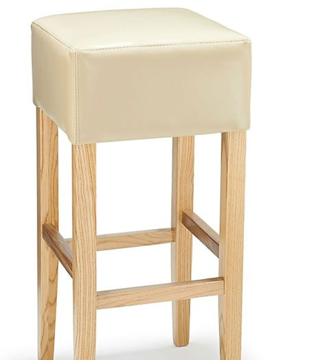 Rhone Cream Real Leather Hard Wood Oak Bar Stool No Back
