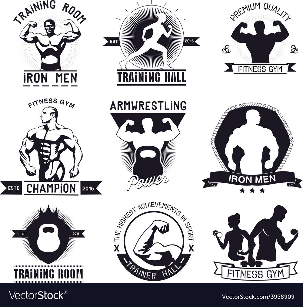 Bodybuilding and fitness gym logos and emblems Vector Image , #AFFILIATE, #gym, #fitness, #Bodybuild...