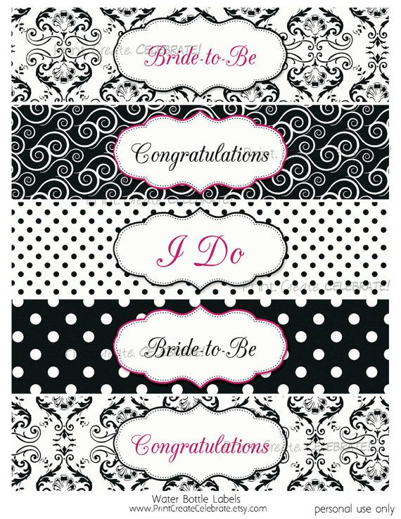 Water Bottle Labels Bridal Shower Black By Printcreatecelebrate Add Their Names To Congratulations Label Bottle Labels Label Templates Labels