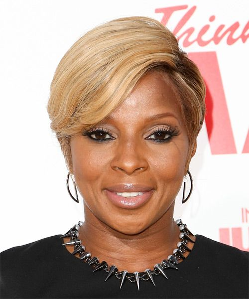 Mary J Blige Short Straight Blonde Hairstyle With Light Blonde Highlights Trendy Short Hair Styles Hair Styles Straight Hairstyles