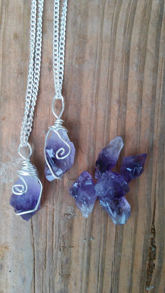 Raw amethyst necklace amethyst necklace crystal necklace purple raw amethyst necklace pendant boho necklace by dieselboutique aloadofball Gallery