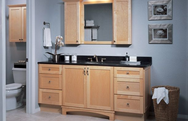 Shaker Natural Maple Bathroom Cabinets (semi Custom) Sold Through Home Depot
