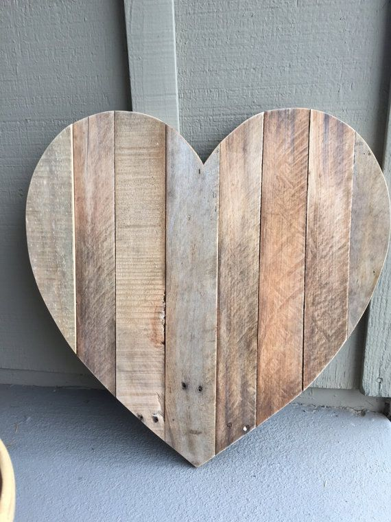 Rustic Heart Shaped Pallet Wood Sign By Burlapandpallets On Etsy Wood Pallet Signs Wood Pallets Wood Signs