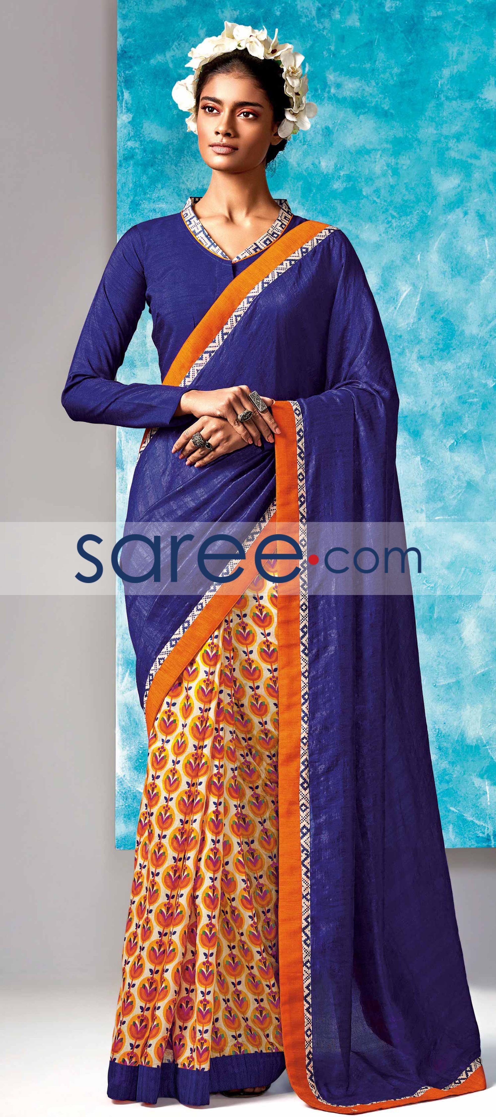 Yellow cotton saree for wedding blue and cream cotton silk printed saree saree georgettesarees