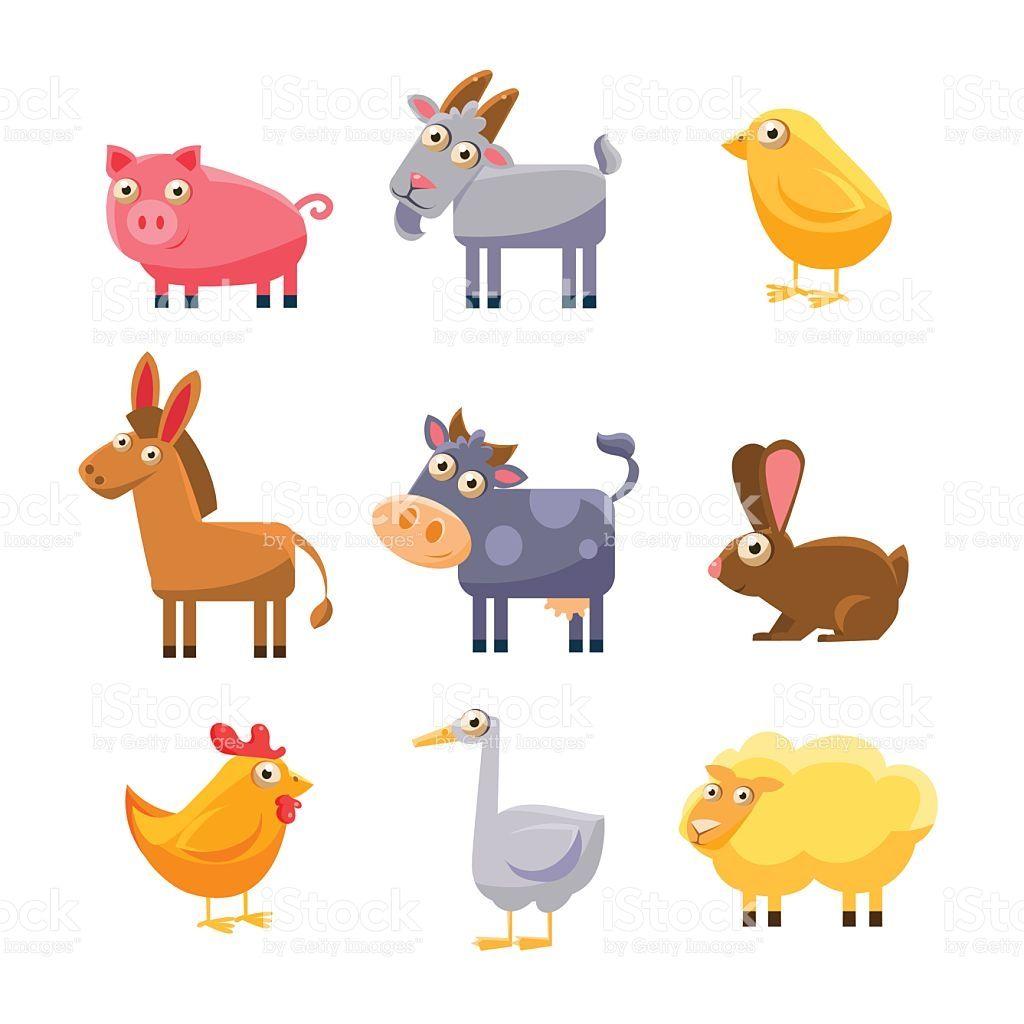 Cute Farm Animal Collection Vector Illustration Set Cute Animal Illustration Farm Animals Animals