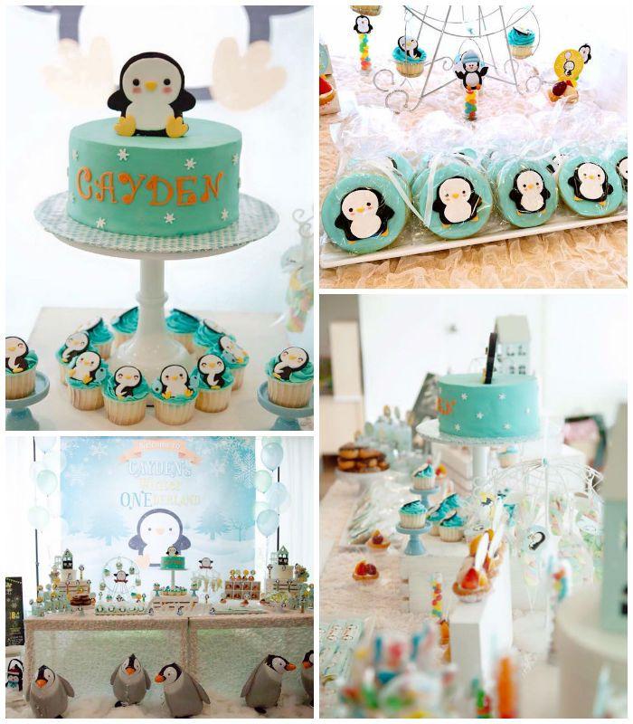"""Winter """"One""""derland Penguin 1st Birthday Party"""