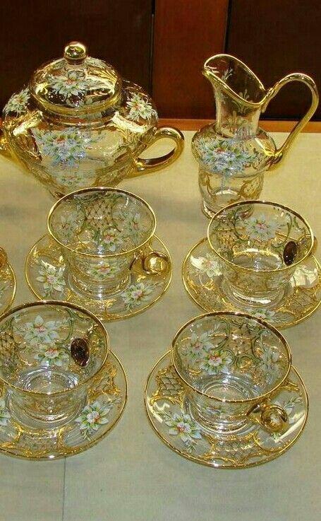 Enameled Venetian Glass Tea Set From Murano Tea Cups Vintage Glass Tea Set Vintage Tea