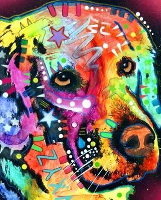 Colorful Golden Retriever.   http://fineartamerica.com/featured/golden-retriever-dean-russo.html