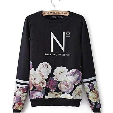 Women's+Letters+Printing+Flower+Design+Jerseys+Round+Collar+Fleece+Long+Sleeves +–+USD+$+19.19