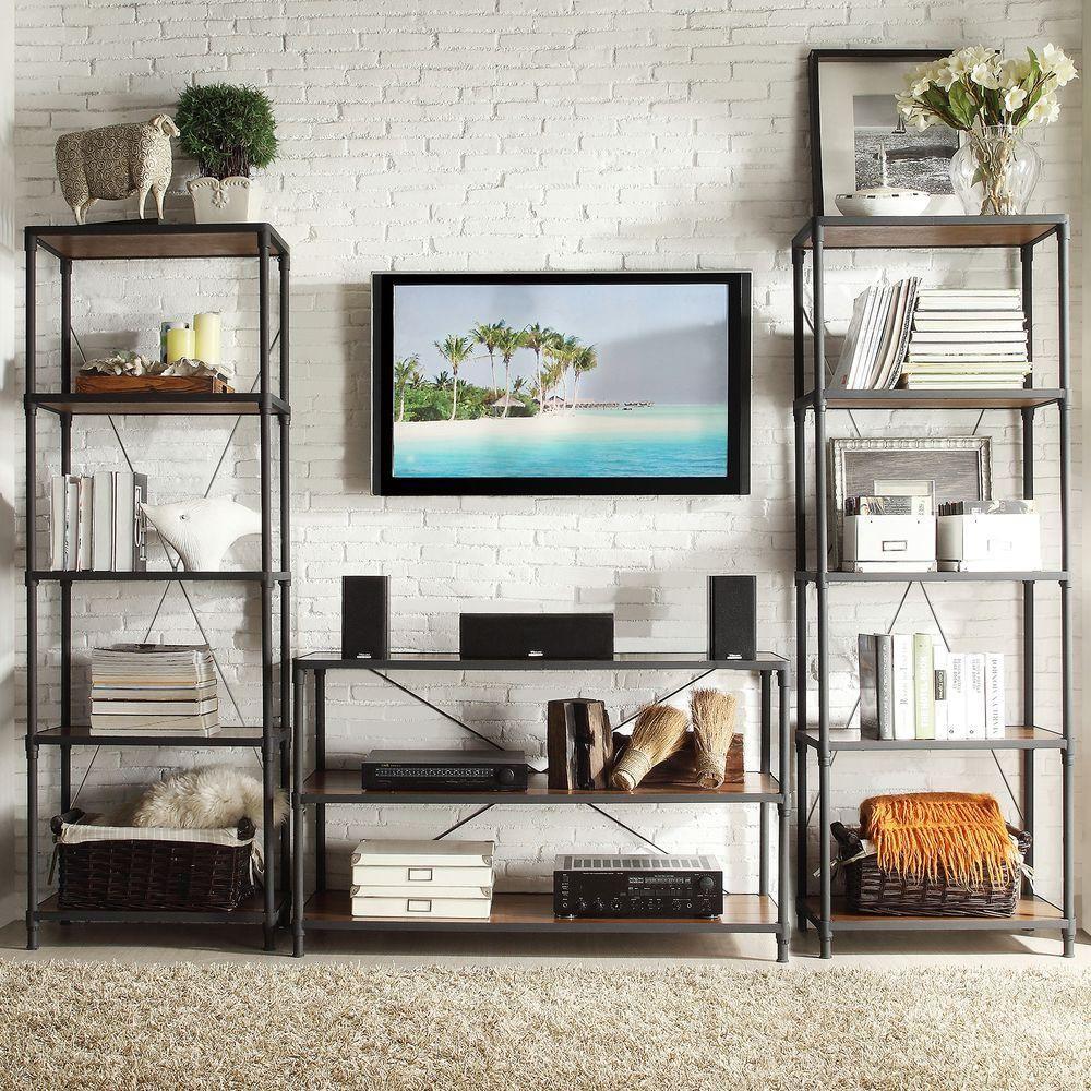 Addison 3 Piece TV Stand And Wide Bookshelf Set In Black