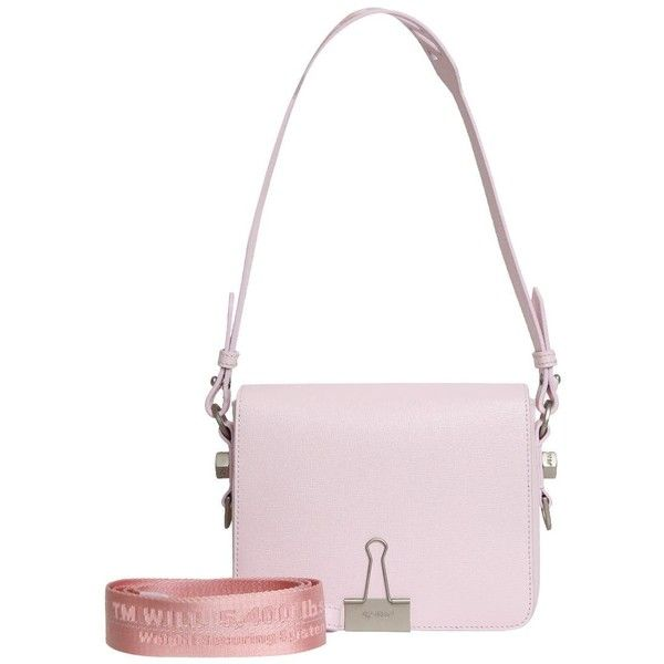 b9f6655dafd Off White Pink leather Flap bag ( 1,057) ❤ liked on Polyvore featuring bags,  handbags, shoulder bags, pink, shoulder strap bags, champagne handbag, ...