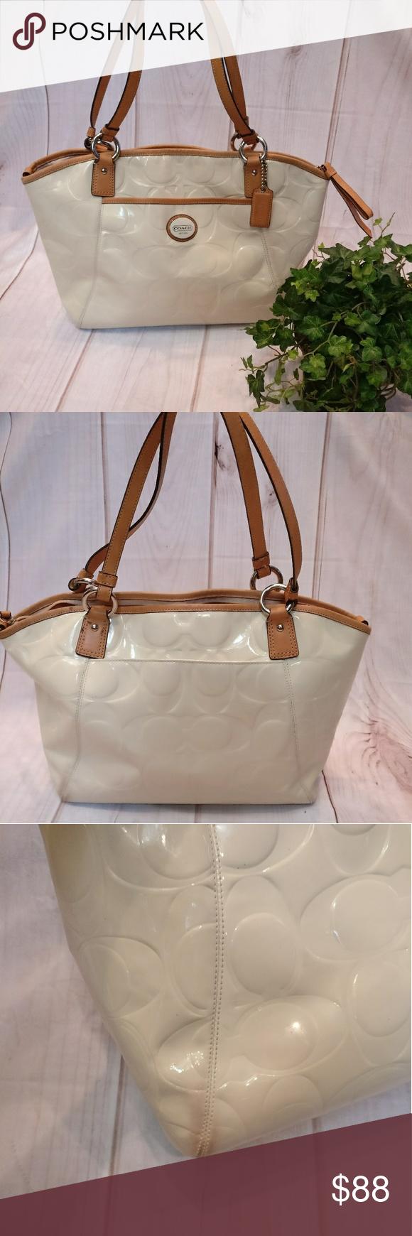 8603e0ed0a26 Cream and Brown Coach Patent Leather Purse Cream Coach purse shoulder bag  tote Baby pink interior