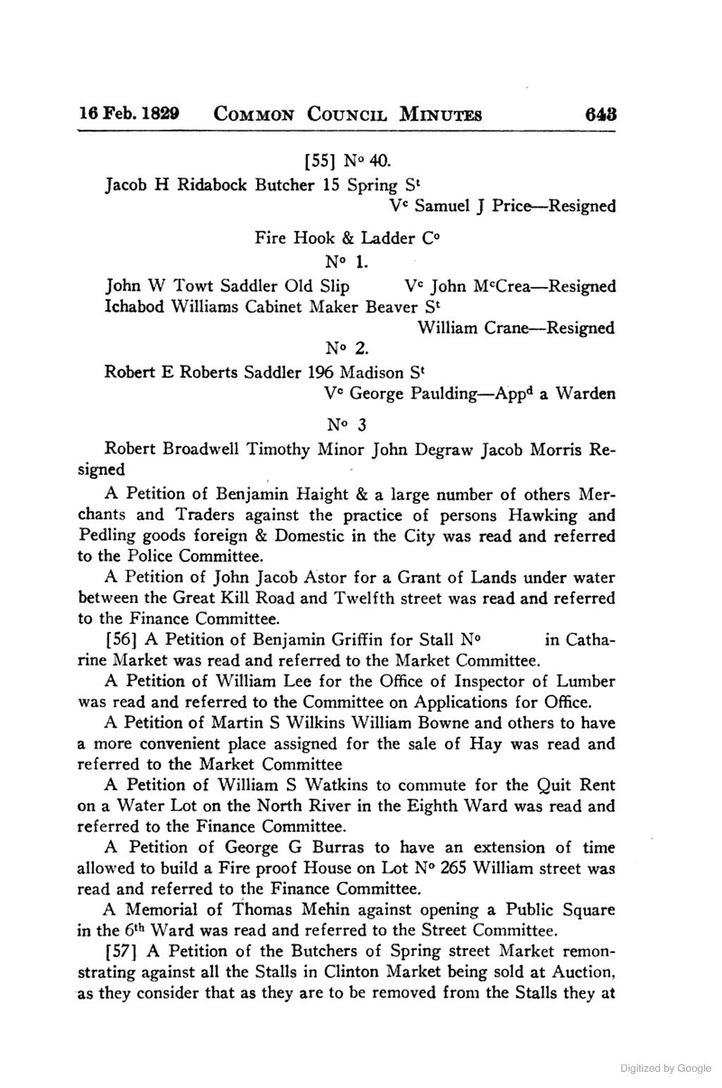 RIDABOCK Jacob, 1830. BUTCHER, 15 Spring St. Minutes Of