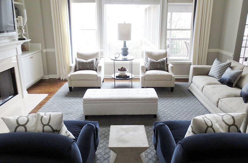 Soggiorno blu ~ Navy blue chair gray sofa google search home decor