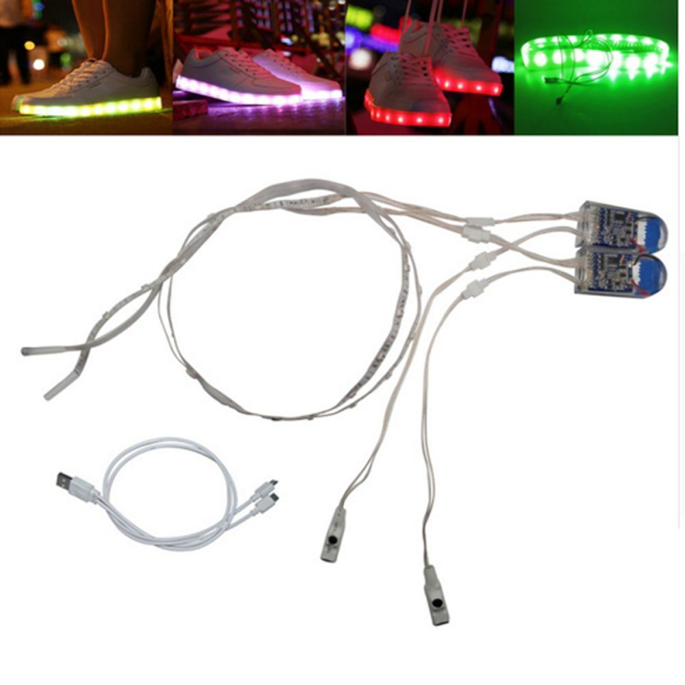1pair 60cm Usb Chaging Battery Powered Rgb Led Strip Light For Diy Shoes Gift Unbranded Rgb Led Strip Lights Shoe Gifts Led Shoes