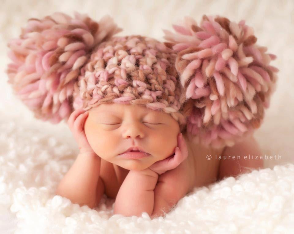 BEAUTIFUL Newborn Baby Girl Crochet Chunky Pom Pom Hat Cream, Brown ...