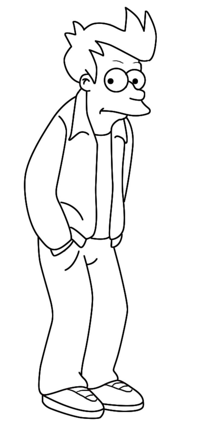 Futurama Coloring Pages Jpg 681 1390 Cartoon Coloring Pages
