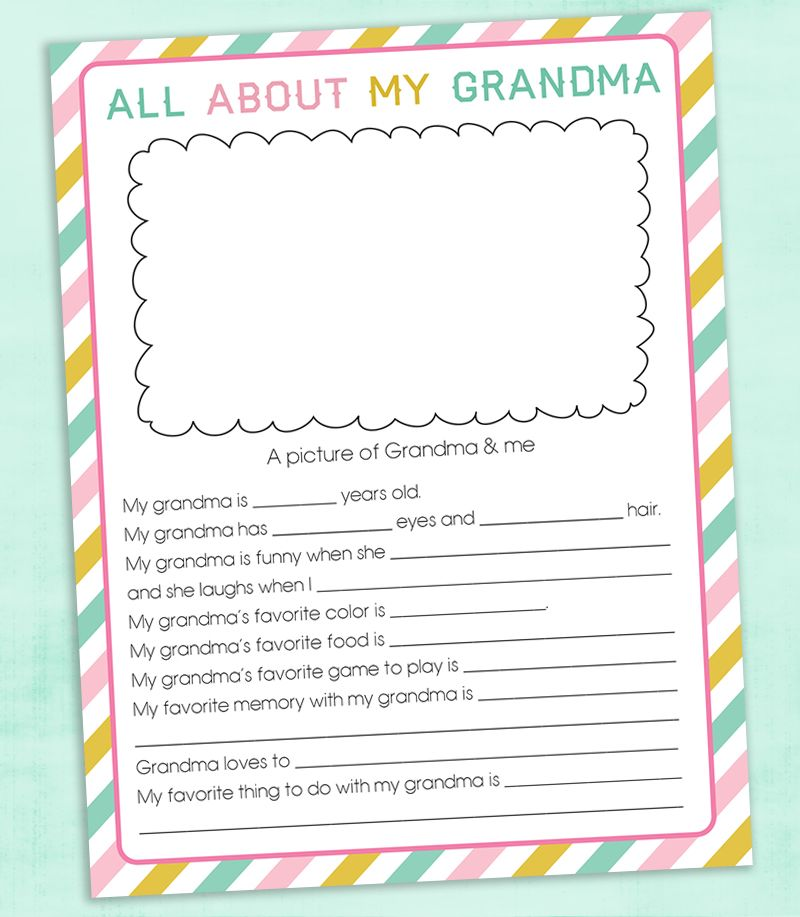 Free Personalised Grandma Mothers Day Questionnaire Printable