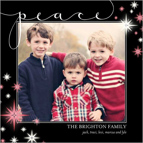 Stars And Peace 5x5 Flat Stationery Card by Petite Lemon Christmas