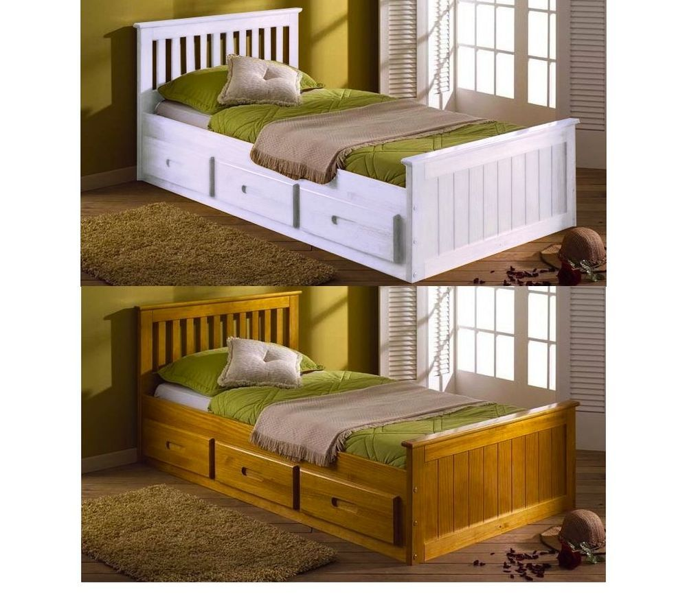Kids bed childrens bed storage drawers white wooden pine single