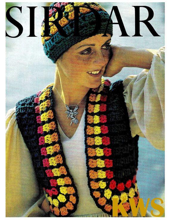 Vintage años 70 ganchillo Hippie chaleco y sombrero patrón ...