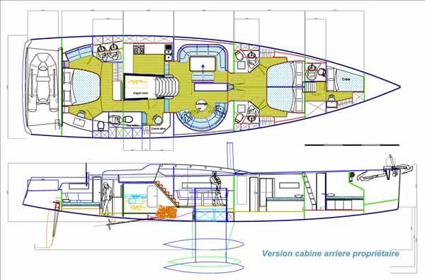 Futuna 64 voilier aluminium composite - plan d'intérieur | Sailing | Boat, Yacht design, Boat plans