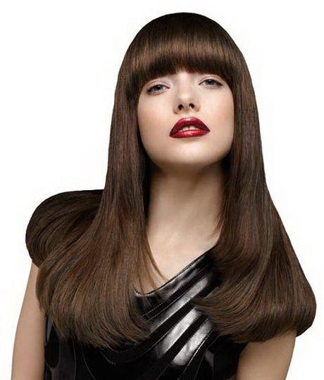 """Braune Lange Haare Frisuren """"Bangs"""" Pinterest Thick Bangs"""