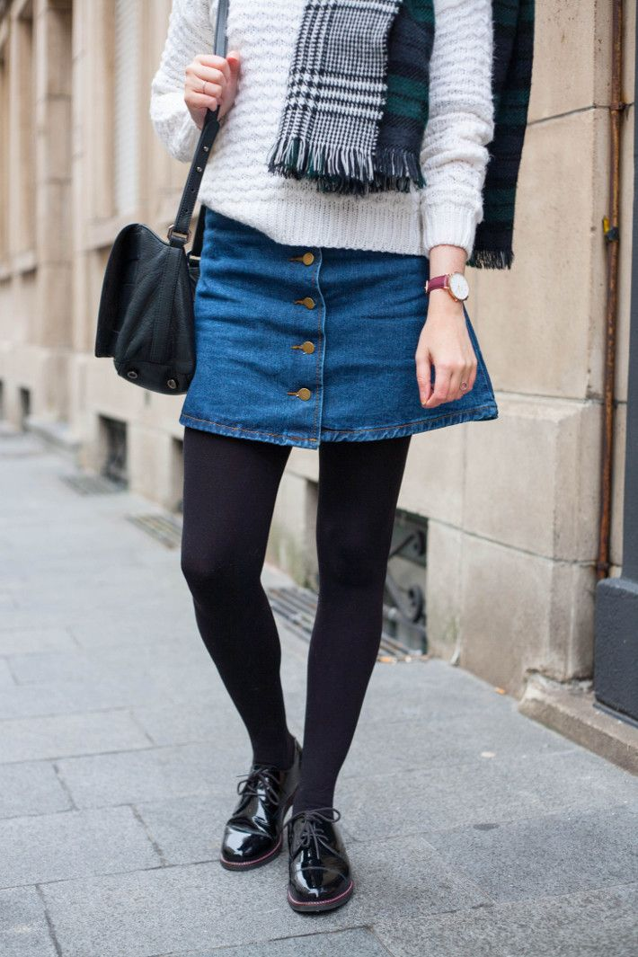 HOW TO WEAR A DENIM SKIRT IN WINTER:Simple et Chic waysify | Top ...