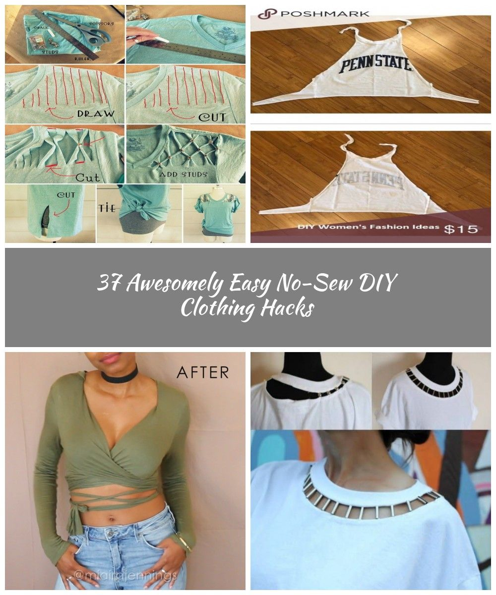 how to make a lattice tee without sewing #diy shirts 37 Awesomely Easy No-Sew DIY Clothing Hacks #nosewshirts